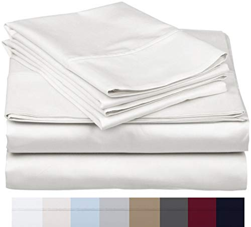800 Thread Count 100% Long Staple Soft Egyptian Cotton SheetSet, 4 Piece Set, QUEEN SHEETS,upto 17' Deep Pocket, Smooth & Soft Sateen Weave, Deep Pocket, Luxury Hotel Collection Bedding, WHITE