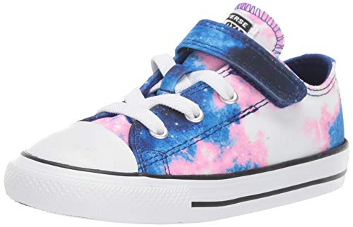 Converse Girls' Chuck Taylor All Star 1V Miss Galaxy Print Sneaker, Lapis Blue/Coastal Pink/White, 2 M US Infant