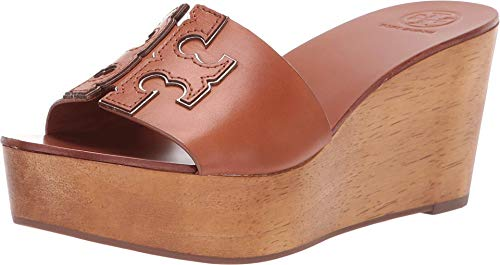Tory Burch INES 80MM Shoes Wedge Slide TB Logo (8.5 M US, Tan Spark Gold)