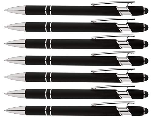 Rainbow Rubberized Soft Touch Ballpoint Pen with Stylus Tips a stylish, premium metal pen, black ink, medium point. Box of 7 (BLACK)