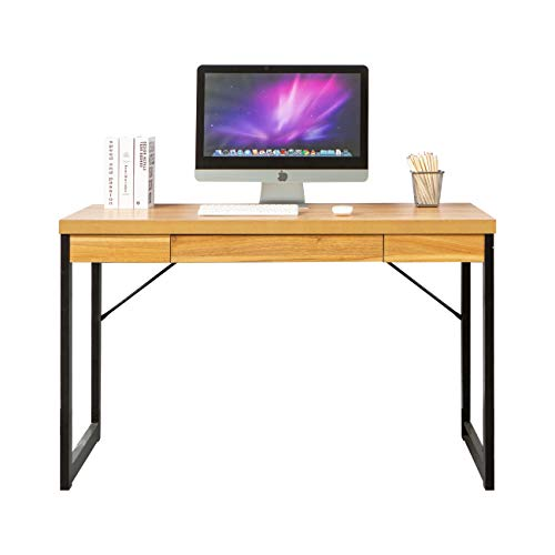 Soges 47 inches Computer Desk Study Table with Drawer Writing Desk Home Office Table Teak GCBG2011