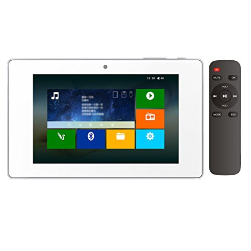 HELMER Bluetooth Amplifier in Wall, Home Stereo Audio System, 5 Inches Video Player with Touch Screen, White, BM207M