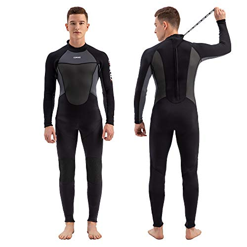 COPOZZ Wetsuit for Men and Women 3mm Neoprene Full Wetsuit, Back Zip Long Sleeve One Piece Wetsuit Jumpsuit for Scuba Diving Surfing Snorkeling (Black, Large)