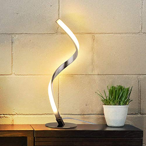 Albrillo Spiral Design LED Table Lamp - Dimmable Desk Lamp Touch Button, Warm White 3000K Bedside Lamps of Stainless Steel, 1.5m Cable, 5W 450LM Nightstand Lamps, for Bedroom, Office, Living Room