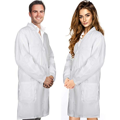 Professional Men & Women Lab Coat Cotton Material 41 Inch Long (White) Unisex Doctor Costume Medical Chemistry Scientist Button Laboratory Male Jacket Lightweight Labcoat Doctors Scrubs Coats (Large)