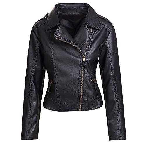 Artfasion Women's Faux Leather Jacket Ladies Girls Fashion Zip Up Motor Biker Jacket Coat (Black, M)