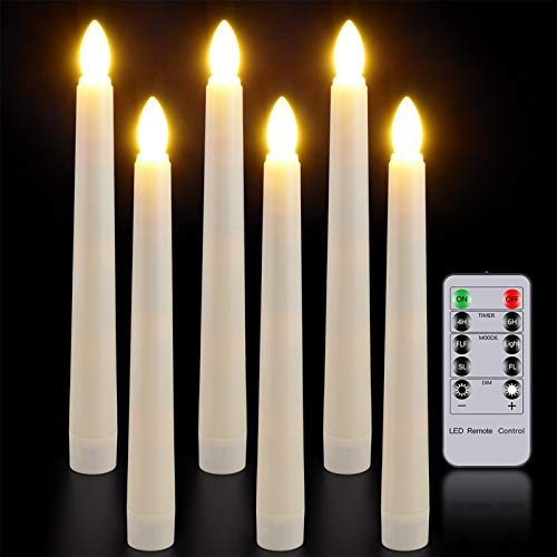 Flameless Candles with Remote Timer, PChero 7.9' Ivory Battery Operated LED Taper Dripless Floating Flickering Candles for Wedding Thanksgiving Christmas Themed Party Valentines Decorations
