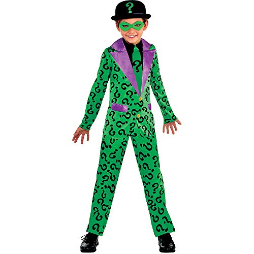 Suit Yourself Batman Classic Riddler Halloween Costume for Boys, Medium, Includes Jumpsuit, Eye Mask, and Black Hat