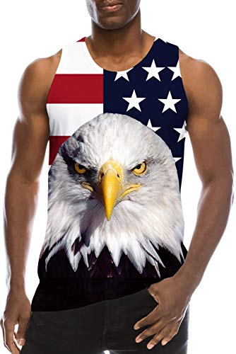 Vest Shirt for Youth Men's Teen Boys School Students Tank Tops 3D Print Blue Red Flag USA Cool Funny Muscle Gym Workout Undershirts Black Fancy Running Jersey Ringer Casual Summer Vest Tshirt Clothing