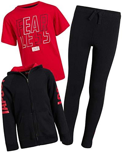TapouT Boys' Jogger Set - 3 Piece Fleece Hoodie, Performance T-Shirt, and Sweatpants Set, Black/Red, Size 12