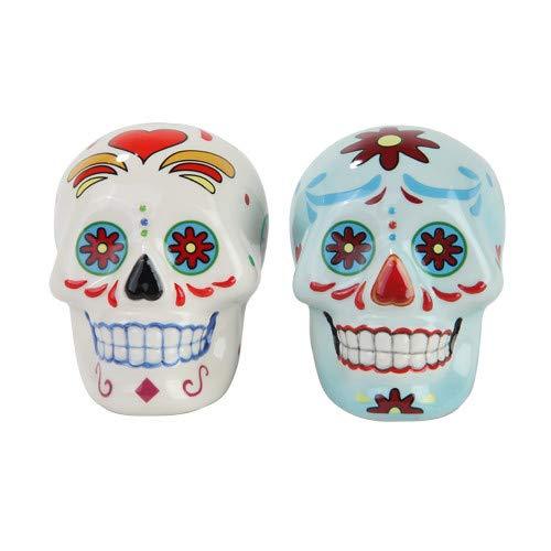 Pacific Giftware Day of Dead Sugar White & Blue Skulls Salt & Pepper Shakers Set- Skulls Collection