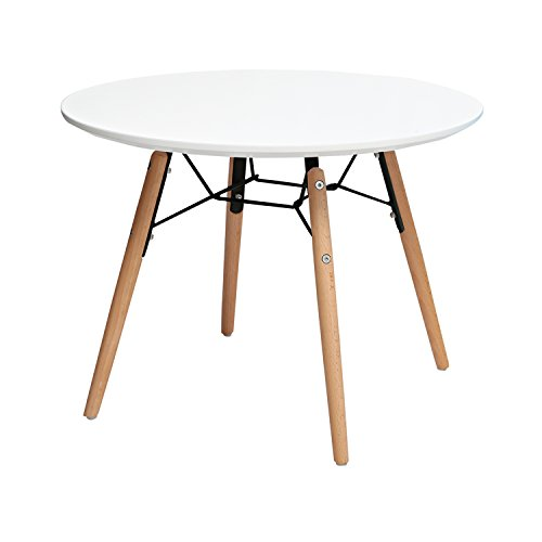 2xhome Kids Size White Round Circle Activity Table with Eiffel Dowel Leg (Round White)