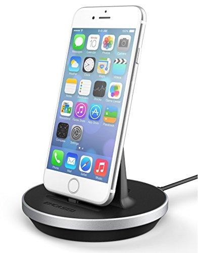 Encased iPhone 7 Dock, Fast Charge Desktop Charging Stand (case Compatible) DockMate² MFI Certified Lightning Charger (Fully Adjustable Design) Aluminum/Black