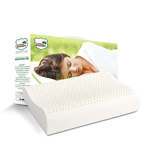 100% Organic Latex Contour Pillow for Neck Pain,Cervical Pillow, Contour Memory Foam Pillow,Orthopedic Ergonomic Cervical Pillow,Latex Foam Pillow,Ergonomic Contour Design for Spine Support(Punch)