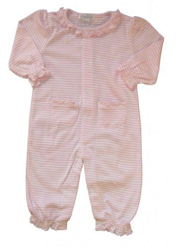 Kissy Kissy Baby Girls Stripes Pink Striped Footie with Gathered Collar- 6-9 Months