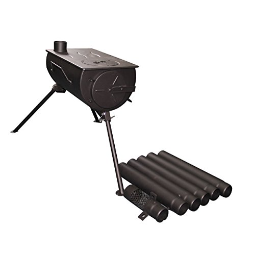Shasta Vent Portable, Camping wood stove. Military style. Frontier Stove, Tent Heater, Ice Fishing, with venting & Carry case. 25 lbs.