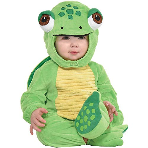 amscan Party City Turtle Crawler Halloween Costume for Babies, 12-24 Months, Includes Jumpsuit, Shell, Hat, Booties, Multicolor (8403344)