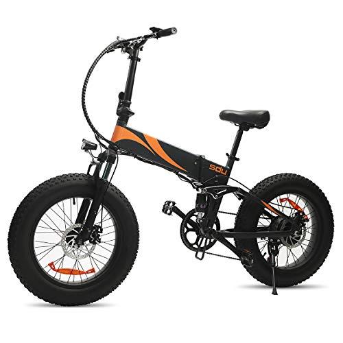 SDU Folding Electric Bike 500W SDREAM S500, Full Suspension Foldable Ebike for All Terrains Beach Mountain Snow Urban, 20 Inch Wheel 4.0″ Fat Tire, 20Mph Max 500W Motor 48V/10.4Ah