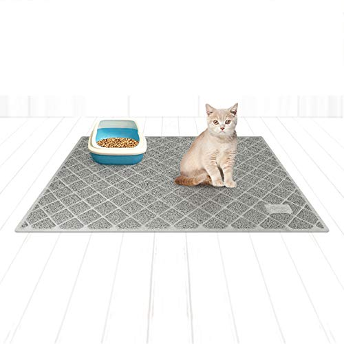 Niubya Premium Cat Litter Mat, Litter Box Mat with Non-Slip and Waterproof Backing, Litter Trapping Mat Soft on Kitty Paws and Easy to Clean, Cat Mat Traps Litter from Box, 47x35 Inches Grey