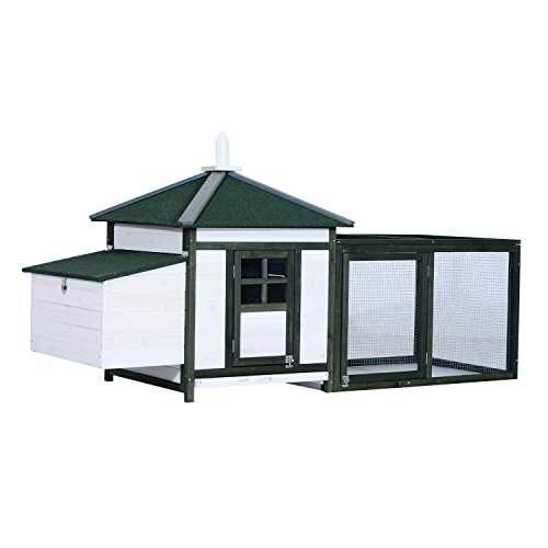 PawHut 77' Wooden Weatherproof Backyard Chicken Coop Kit with 2-Part Nesting Box and Run - White/Green