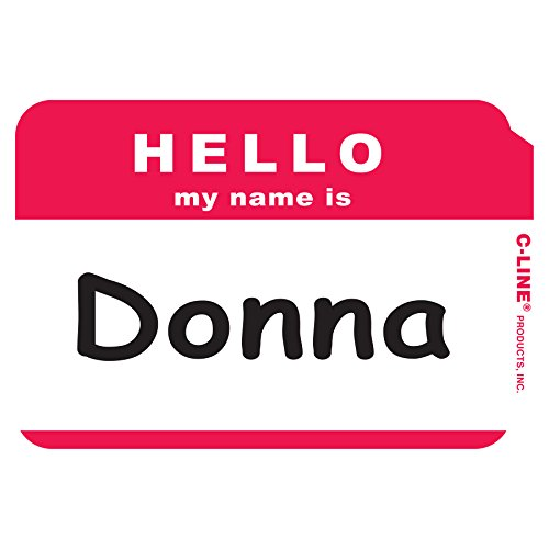C-Line Pressure Sensitive Peel and Stick Badges, Hello My Name Is, Red, 3.5 x 2.25 Inches, 100 per Box (92234)