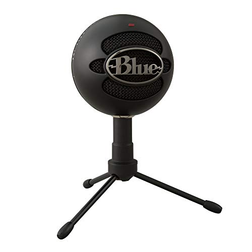 Blue Snowball iCE USB Mic for Recording and Streaming on PC and Mac, Cardioid Condenser Capsule, Adjustable Stand, Plug and Play – Black