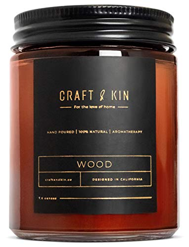 Scented Candles for Men | Premium Wood Soy Candles for Men & Women | All-Natural Soy Candles, Rustic Home Decor Scented Candles | Non-Toxic, Ultra Clean Burn Aromatherapy Amber Jar Candle