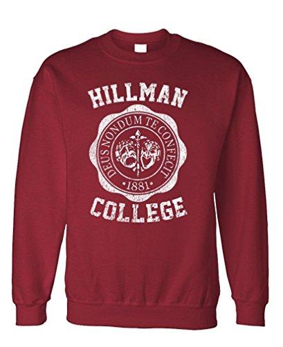 Hillman College - Retro 80s Sitcom tv - Fleece Sweatshirt, L, Maroon