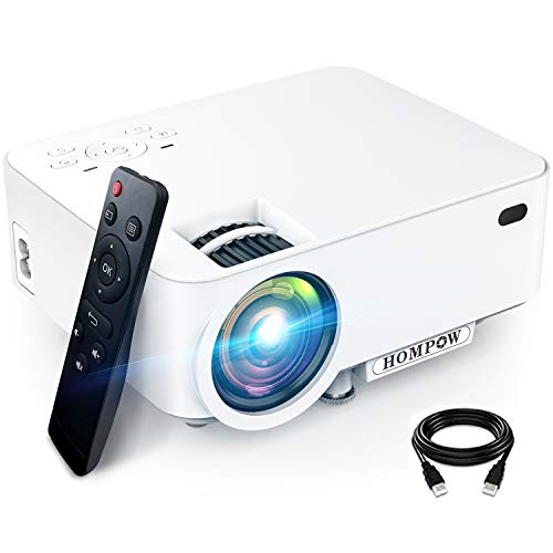 Mini Projector, H O M P O W 5500L Movie Projector, Smartphone Portable Video Projector 1080P Supported and 176' Display, Compatible with TV Stick/HDMI/VGA/USB/TV Box/Laptop/DVD/PS4 for Home