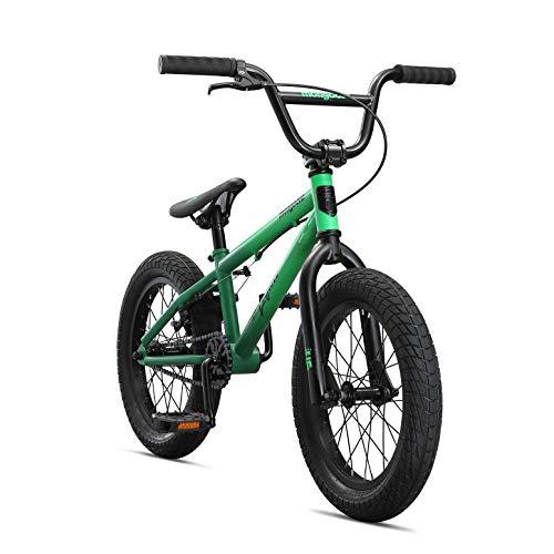 Mongoose Legion L16 Freestyle Sidewalk BMX Bike for-Kids,-Children and Beginner-Level to Advanced Riders, 16-inch Wheels, Hi-Ten Steel Frame, Micro Drive 25x9T BMX Gearing, Green (M41600U10OS-PC)
