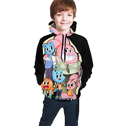 Amazing World of Gum_Ball Funny and Good-Looking Teen Hooded Sweate Jacket Black L(14-16) Comfortable Classic Boy and Girl Unisex-Baby