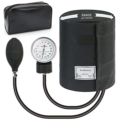 Aneroid Sphygmomanometer by LotFancy, Professional Manual Blood Pressure Monitor with X -Large Thigh BP Cuff(16-26in), Black Adult Cuff and Carrying Case