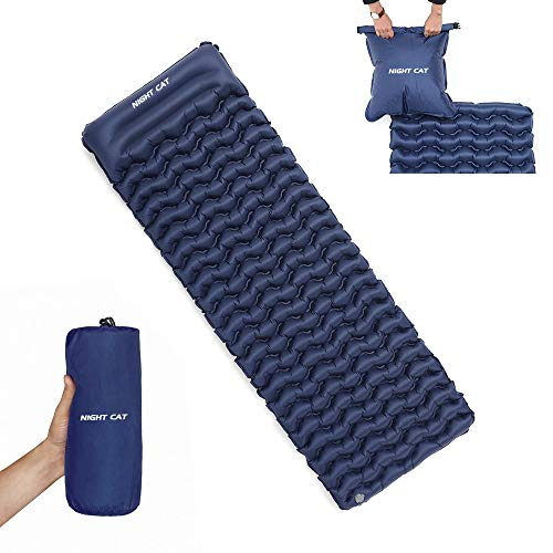 Night Cat Inflatable Sleeping Pad Mat Bed with Pillow and Air Bag for Camping, Backpacking Hiking; Ultra-Light, Compact, Comfortable, 75'x25'