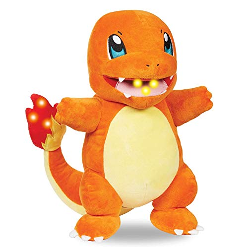 Pokémon Flame Action Charmander 10 Inch Interactive Plush with Lights and Sounds - Light Up Tail and Mouth - Eco-Friendly Packaging - Age 4+