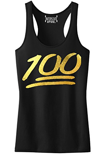Gold Foil Emoji 100 Percent Junior's Black Racerback Tank Top T-Shirt Medium Black