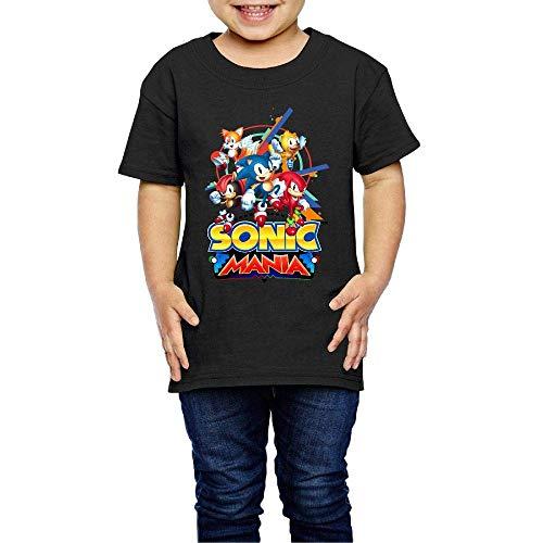 Washed Cotton Baby Boy Girls Shirt Son-ic - Man-ia Cute Toddler Kids Summer T Shirt Funny Black
