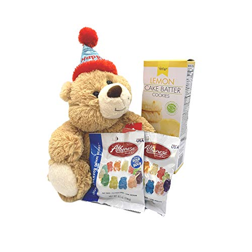 "Happy Birthday Bear with 12"" Plush Stuffed Teddy Bear, Two Packages of Gummy Bears, and One Package of Soft Lemon Cake Batter Cookies - Gift Set for Girl, Boy, Mom, Dad, Friend, Coworker, Girlfriend"