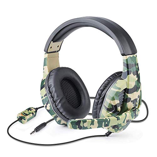 Picozon Gaming Headset with Microphone, 3.5mm Plug Headphone for PS5, PS4, Nintendo Switch, Playstation 4, Playstation 5, Xbox One, Computer, Laptop, iPad, Surface, Smartphone - Camouflage Green