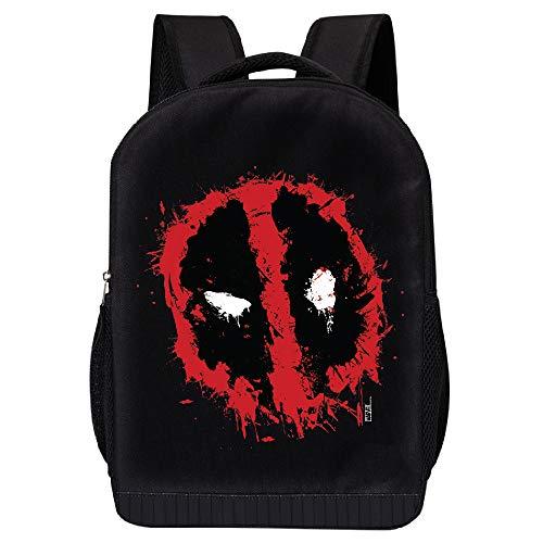 MARVEL COMICS CLASSIC DEADPOOL BACKPACK - MARVEL BLACK DEADPOOL 18 INCH AIR MESH PADDED BAG (Deadpool Logo Spray 1)