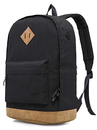 HotStyle 936Plus College Backpack for Teen Boys & Men, Vintage Bookbag Cool Rucksack Casual Travel Work Daypack, Black