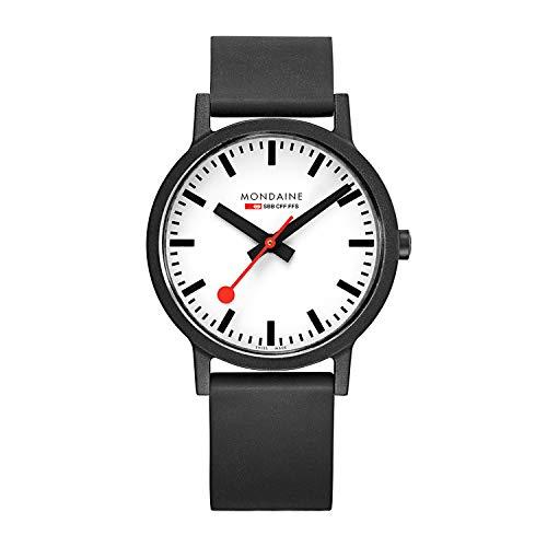 Mondaine Men's SBB Stainless Steel Essence Swiss Quartz Watch with Rubber Strap, Black (Model: MS1.41110.RB)