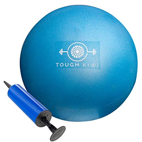 Tough Kiwi 9 Inch Pilates Ball with Pump - Mini Exercise Ball for Home Fitness | Use for Home Fitness, Stability, Barre, Pilates, Yoga, Core Training or Physical Therapy (Blue)