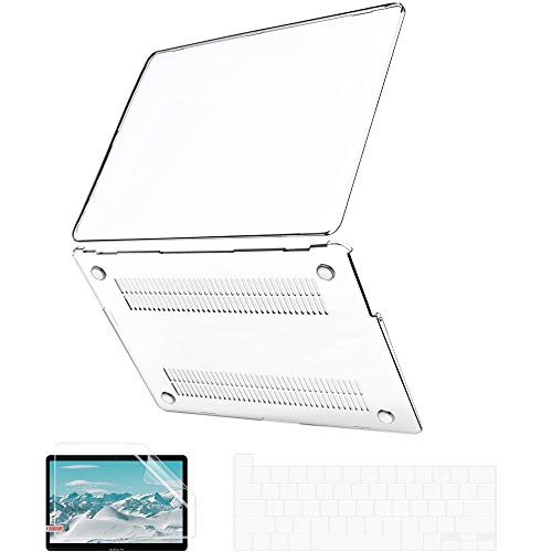 MacBook Pro 13 Inch Case 2020 Release A2289 A2251, JGOO Slim Crystal Clear Plastic Hard Shell Cover Case with Keyboard Cover & Screen Protector for Apple Mac Pro 13 with Touch Bar & Touch ID