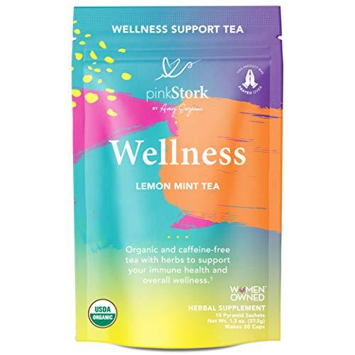 Pink Stork Immune Support Tea: Lemon Mint Wellness Tea, 100% Organic, Supports Immune Health + Echinacea + Elderberry, Women-Owned, 30 Cups