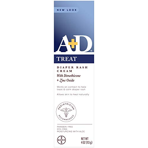A+D Zinc Oxide Diaper Rash Treatment Cream, Dimenthicone 1%, Zinc Oxide 10%, Easy Spreading Baby Skin Care, 4 Ounce Tube (Packaging May Vary)