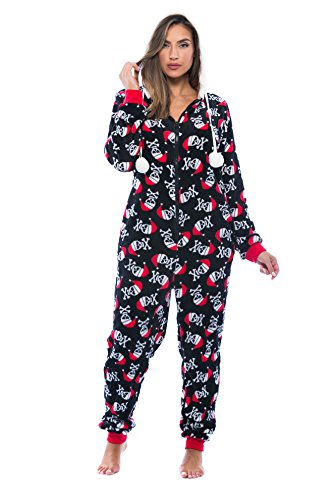 Just Love Adult Onesie / Pajamas, Black-Santa Skull, Large