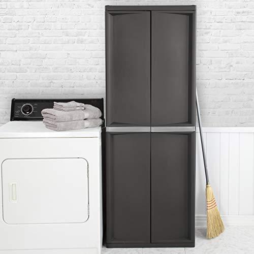 Sterilite 01423V01 4 Shelf Cabinet, Flat Gray, 1-Pack