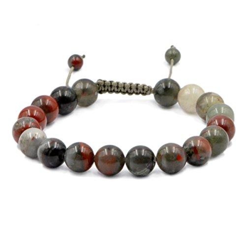 AD Beads Natural 10mm Gemstone Bracelets Healing Power Crystal Macrame Adjustable 7-9 Inch (Bloodstone)