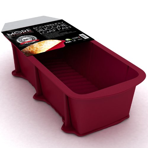More Cuisine Essentials BG - 1322 Eco-Friendly, Nonstick Silicone Loaf and Bread Pan, Commercial Grade Silicone, Burgundy Wine