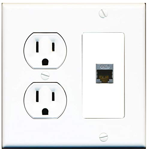 15 Amp Round Power Outlet 1 Port Cat6 Shielded Ethernet Wall Plate White